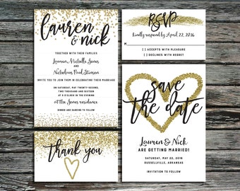 Gold Confetti Wedding Invitation Template Bundle