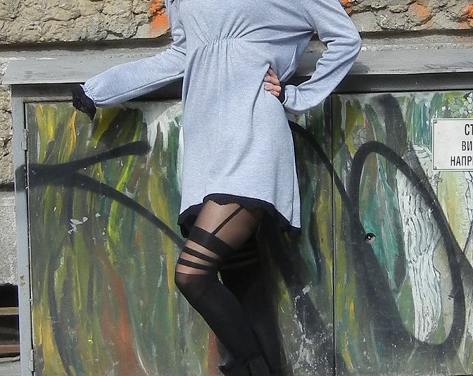 Grey tunic with lace edge / Soft Cotton Tunic / Pair of Braces Tunic / Down Arms Tunic / Bio Cotton Tunic