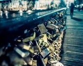 Photography Print, Pont des Arts, Paris, France, Locks, Fine Art Photography, Wall Art, Blue, Home Decor, Night Photography, Romance, Love