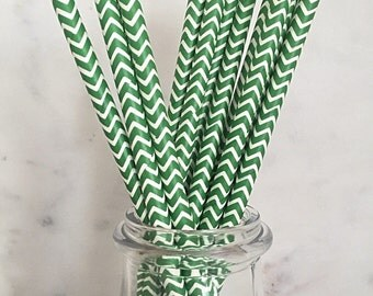 SALE Green Chevron Paper Straws (25)