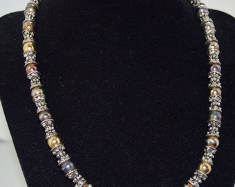 Handmade Metallic Beaded Necklace - 18 Inches - Can also be worn as a bracelet.