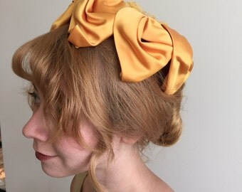 Vintage 60s Golden Yellow Satin Pillbox Hat
