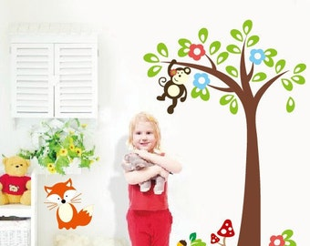 Monkey in Tree Wall Decal, Removable Wall Sticker