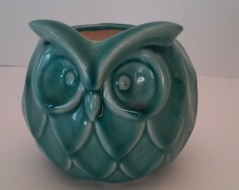 Aqua Ceramic Owl Planter