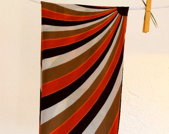 Vintage scarf, Shawl, Foulard, Colorful scarf, Designer scarf, Headband, 60s, Hearscarf, Hippie scarf, Brown scarf, italian designer scarf