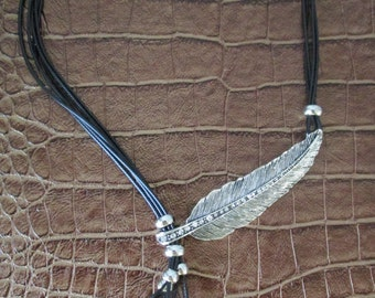 Black Leather & Silver Feather Necklace