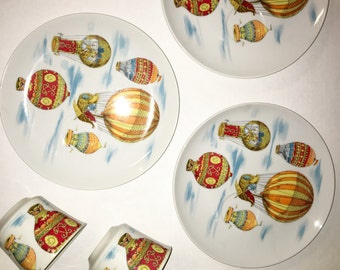 6 Piece Vintage Hot Air Balloon plate and cup set