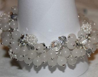 Gemstone bracelet and pendant white crystals.