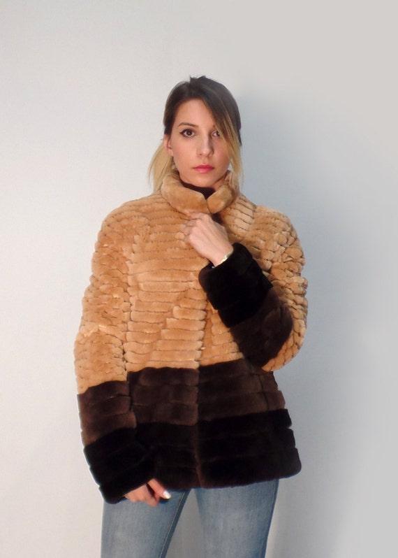Canadian Beaver fur short jacket, jacket in beige, Brown and dark brown, soft rabbit jacket