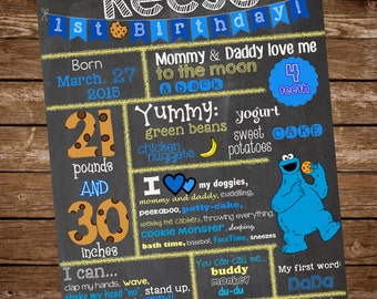 Cookie Monster Chalkboard Sign, Cookie Monster Birthday, Chalkboard Birthday Sign, First Birthday Chalkboard, Cookie Monster Birthday