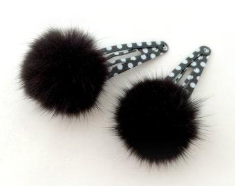 Black mink fur hair clips, black fur hair accessory