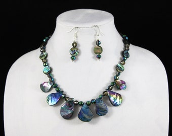 Handmade, Necklace Set, Abalone Shell,  Necklace, Earrings, Crystals