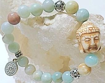 Serenity Zen Buddha with Amazonite beads.