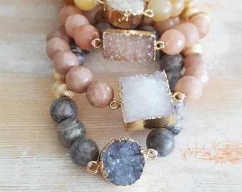 Druzy Beaded Bracelets - Semi-precious Gemstone Jewelry