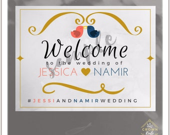 Printable Wedding Welcome Sign, Love Birds, Wedding Printables, Welcome Sign, Instant Download, Love Bird Wedding, Wedding Welcome, Love