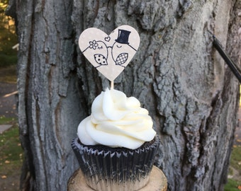 Kissing Lovebirds Cupcake Topper - Rustic Wedding Cupcakes - Love birds - Outdoor Wedding - Love (12 qty)