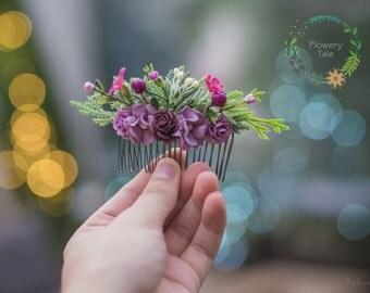 Purple Floral hair comb, flower comb, Bridal comb,  bridal headpiece, bridesmaids comb, Bridal hair flower, Hair Accessories