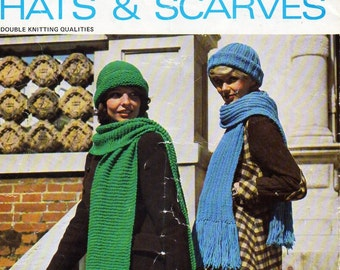 ladies hats & scarves knitting pattern PDF womens caps scarf set Vintage 70s DK light worsted 8ply instant download