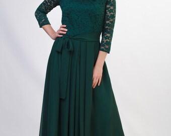 Dark green bridesmaid dress Lace green bridesmaid dress with sleeves Long dark green dress Lace prom dress long