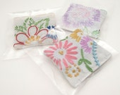 3 Dried Lavender Sachets - Embroidered Sachets - Stocking Stuffers - Vintage Linens - Embroidery - Party Favors