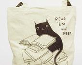 Cat Tote Bag Cat Bag Cat Tote Library Tote Bag Book Tote Bag Book Bag