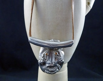 SALE! Silver pmc clay Pendant Necklace of Sea god