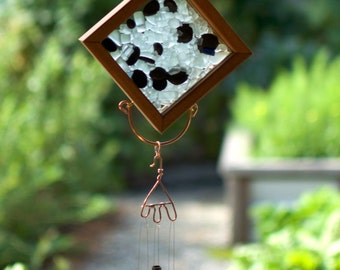 Wind Chime Sun Catcher Glass Ice Cubes with Beach Pebbles and Brass Chimes