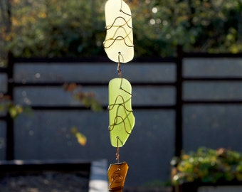 Suncatcher Beach Glass and Copper Sun Catcher stained glass sea glass