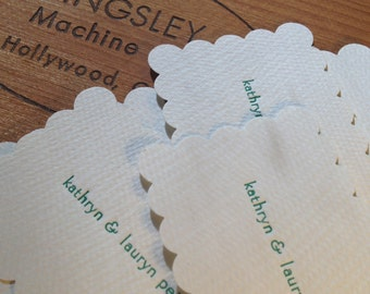 Personalized one or two line foil letterpress calling, announcement or business cards, set of 20