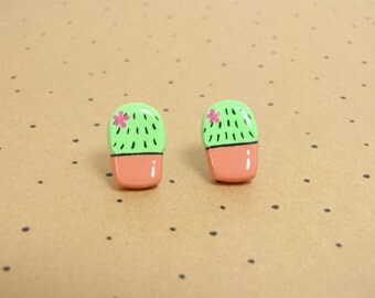 Cactus Succulent Clay Stud Earrings