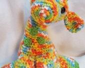 Adorable citrus colored hand made stuffed giraffe