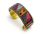 Mosaic Brass Cuff Bracelet with pink, red, purple iridescent polymer clay inlay, Sterling Silver beads, faux wood, black and white patterns