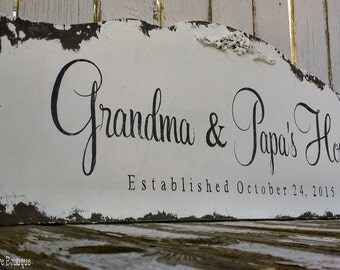CUSTOM NAME SIGN, Grandma and Papa's House, Personalized Name Sign, Vintage Sign, Shabby Chic Name Sign, Established Sign, Distressed Sign,
