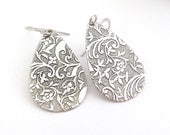 Art Nouveau Earrings, Antiqued Silver Plated Teadrop Dangle, Boho Bohemian Style, Bridesmaid Bridal Wedding Jewelry, Clip On Earrings