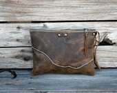 Medium Leather Zipper Pouch  /  Zippered Purse /  Phone Case / Camera Wristlet / Leather Clutch For Fall