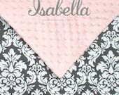 Gray and Pink Baby Girl Blanket , Personalized Baby Girl Damask Blanket , Small Baby Blanket - 20x30 , LIMITED but still available