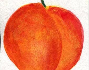 Original ACEO Peach Watercolor Painting, Peach art card, original watercolor painting of peach, SharonFosterArt, SharonFosterArt