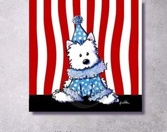Giclée Canvas Art PRINT Westie Terrier Circus Clown
