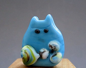 Cat Bead Handmade Lampwork Focal - Mary Itty Bitty FatCat
