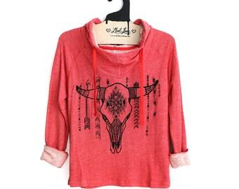 S,M, L - Coral Hoodie Sweatshirt hand screen printed with cow skull design