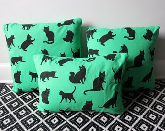 Small Hand Screen Printed Pillows Green Cat Pattern