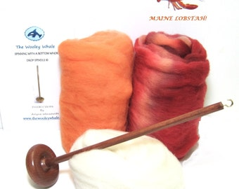 Drop Spindle Yarn Spinning Kit Colorway, Maine Lobstah Available In Either Top Or Bottom Whorl