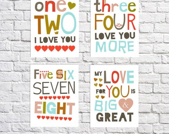 I Love You Art Love You More Sign Toddler Room Decor Set Of 4 Prints Retro Nursery Quotes Gender Neutral Nursery Art Choose Your Own Colors