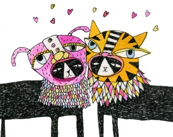 Square Greeting Card: Love Cats in Masks