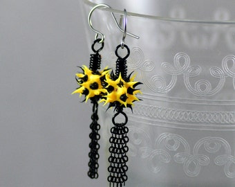 Eco-Chic Eco-Friendly Tassel Earrings Featuring Spiky Neon Yellow with Black Recycled Tire Rubber Columbus Crew Soccer Colors