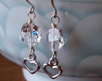 Silver Heart And Swarovski Earrings - Clear Swarovski Crystal- Rhodium-Plated Pewter And Sterling Silver Heart Earrings