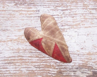 Primitive Heart, Rustic Heart, Antique Quilt Heart, Stuffed Heart, Country Farmhouse, Americana Primitive Decor, Red & White - READY TO SHIP