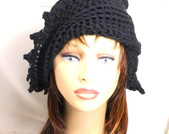 Black Crochet Hat Womens Hat, Womens Crochet Hat, Womens Summer Hat Women, Crochet Beanie Hat, Black Hat, LAUREN Womens Crochet Hat