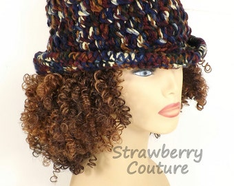 Crochet Hat Womens Hat Trendy, Womens Crochet Hat, Womens Fedora Hat, High Sierra Hat, ANDY Crochet Fedora Hat for Women, Strawberry Couture