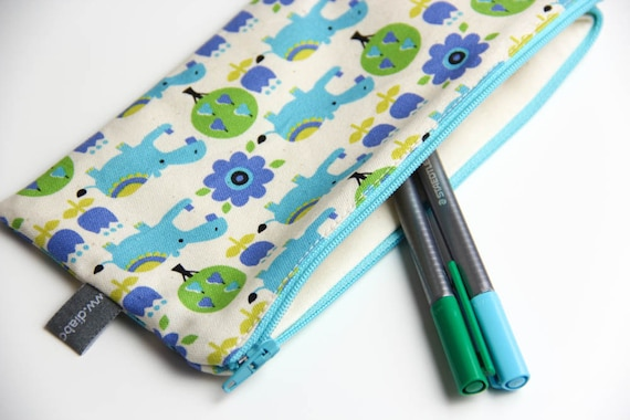 Pencil case - Zipper pouch - hippopotamus - hippo - blue - green - toys - jewelry - pencils - handbag - gift - girl or boy